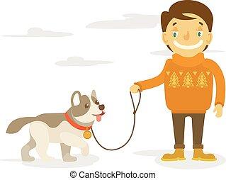 menino, vetorial, cão