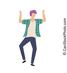 menino, vetorial, dançar, dançarino, levantar, sujeito, mãos