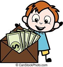 menino, vetorial, envelope, caricatura, ilustração