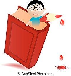 menino, vetorial, livro, ilustração, vermelho