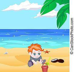 menino, vetorial, praia