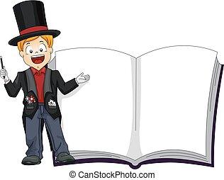 menino, wizard, exposição, livro