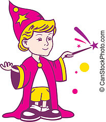 menino, wizard, logotipo