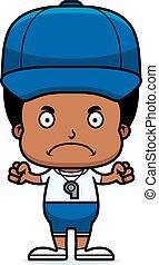 menino, zangado, treinador, caricatura