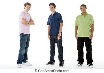 meninos, adolescente, pleno retrato comprimento