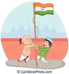 meninos, bandeira, indianas, índia, içar