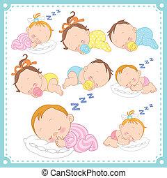 meninos bebê, vetorial, meninas, ilustração