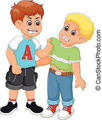 meninos, caricatura, luta