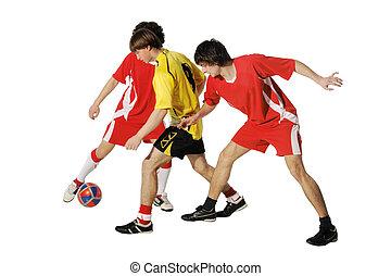 meninos, com, bola futebol, footballers
