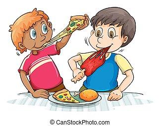 meninos, comer, faminto