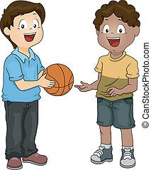 meninos, compartilhar, basquetebol