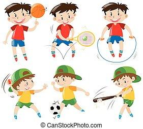 meninos, diferente, tipos, esportes