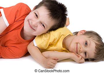 meninos, dois, feliz