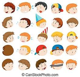 meninos, expressões, facial