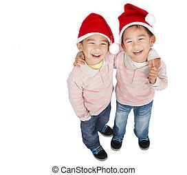 meninos, feliz, asiático, dois
