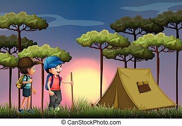 meninos, floresta, hiking, acampamento, dois