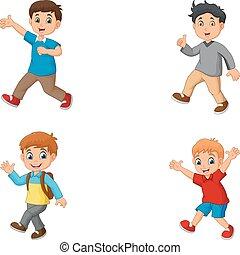 meninos, jogo, caricatura, cobrança