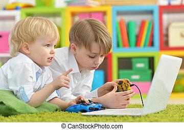 meninos, jogos de computador