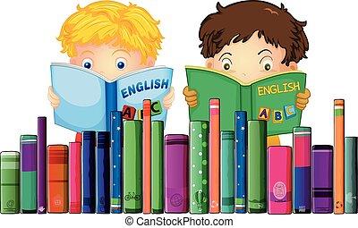 meninos, livro leitura, inglês