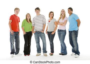 meninos, meninas adolescentes, retrato