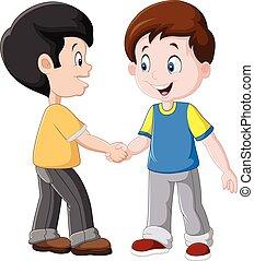 meninos, pequeno, apertar mão