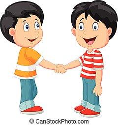 meninos, pequeno, caricatura, segurando mão