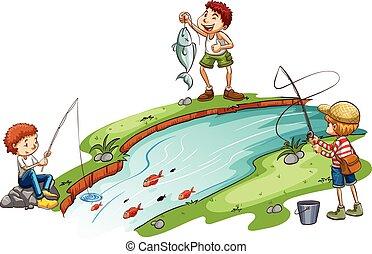 meninos, pesca