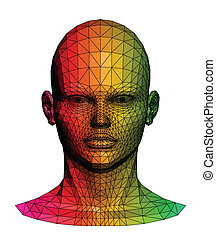 menneske, farverig, head., vektor, illustration