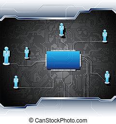 menneske, networking, på, motherboard