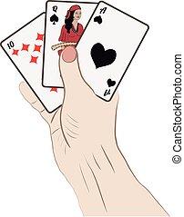 menneske ræk, hos, spille cards