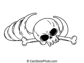 menneske, vedvare, isolated., bones, skelet, og, kranium