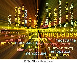 Background concept wordcloud multilanguage international many language illustration of menopause glowing light