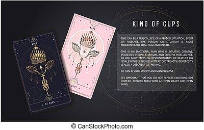 menor, rosa, plata, oro, secreto, místico, cups., ilustración, symbols., oro, arcana, negro, tarjeta