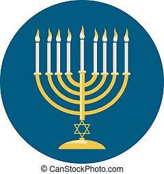 Menora For Hanukkah Celebration - Menora or menorah with...