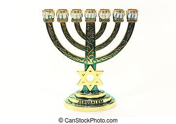 Jewish candlestick in front of white background