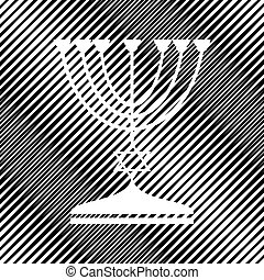 menorah, ユダヤ人, 燭台, silhouette., 黒, ho, vector., icon.
