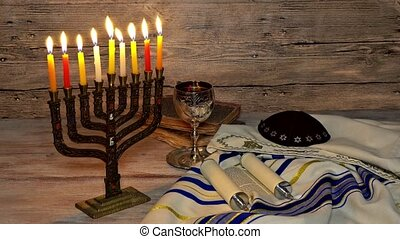 Menorah abstract retro of jewish holiday Hanukkah with...