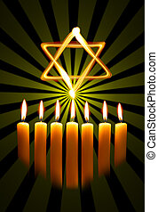Menorah and star over the black background