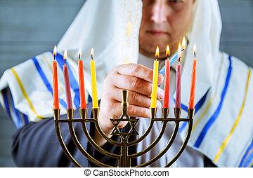 menorah, brûlé, hanukkah, bougies, juif, celebration.