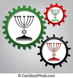 menorah, co, ユダヤ人, 3, 燭台, silhouette., 黒, vector.