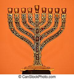 menorah - golden menorah, jewish souvenir
