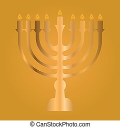 Menorah for Hanukkah, Vector illustration. - Colored...