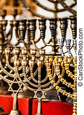 Menorah for sale in shop in the Jerusalem old city market....
