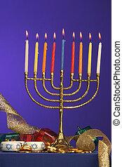 menorah fully lite - traditional Hanukkah menorah fully lite