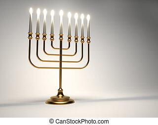 Golden menorah with lit candles - 3d render illustration