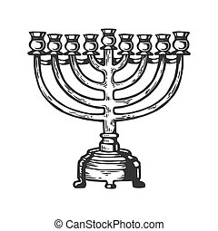Menorah Hanukkah candelabrum candle holder with multiple arms engraving vector illustration. Scratch board style imitation. Black and white hand drawn image.