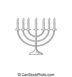 Menorah icon in black monochrome style isolated on white background. Religion symbol vector illustration