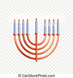 Menorah icon, cartoon style
