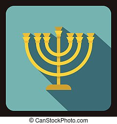 Menorah icon in flat style - icon in flat style on a white...