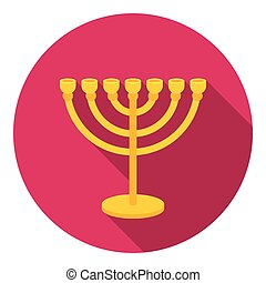 Menorah icon in flat style isolated on white background.